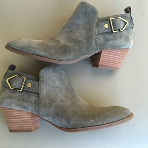 Franco Sarto  Gray Leather Booties Sz 8